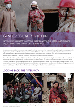 Gender Equality Bulletin Special Issue - One Month on  | 25 may 2015