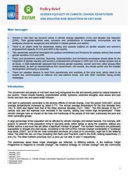 Policy Brief Gender equality in climate change adaptation and disaster in Viet Nam
