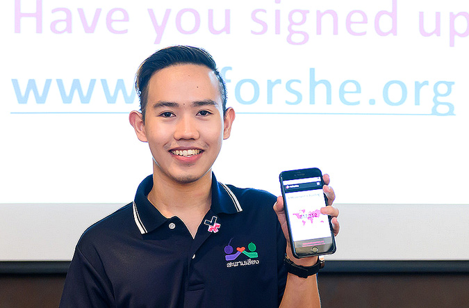 Thai Youth Ambassadors for safe migration join HeForShe