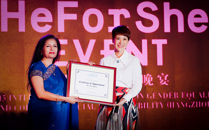 Ms. Puri presents the Goodwill Ambassador certificate to Haiqing