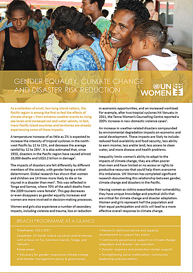 Gender Equality Climate Change and Disaster Risk Reduction