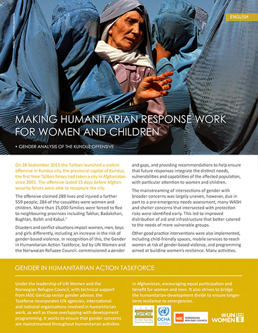 Making humanitarian response work for women and children