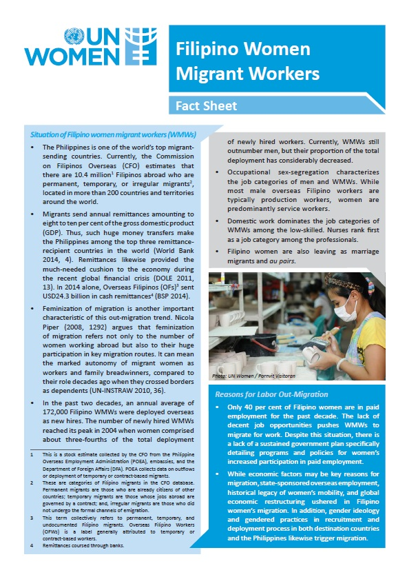 Filipino Women Migrant Workers Fact Sheet