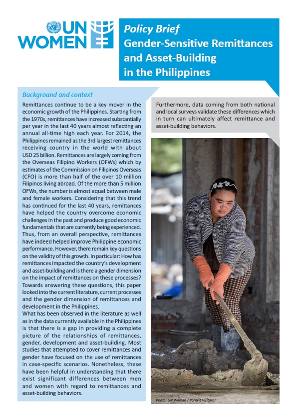 Policy Brief: Gender-Sensitive Remittances and Asset-Building in the Philippines