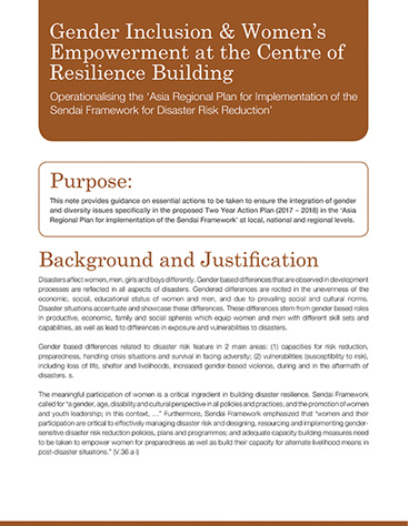 Gender Inclusion & Women's Empowerment at the Centre of Resilience Building