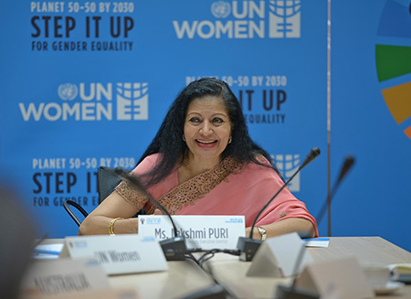 Deputy Executive Director Lakshmi Puri urges investment in women's entrepreneurship at the She Means Business Forum in Viet Nam