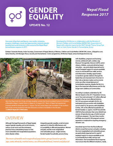 Gender Equality Update No 12 for the Flood Response
