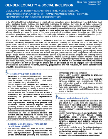 GESI Guideline for identifying and prioritizing vulnerable and marginalized populations for humanitarian response, recovery, preparedness and disaster risk reduction in Nepal