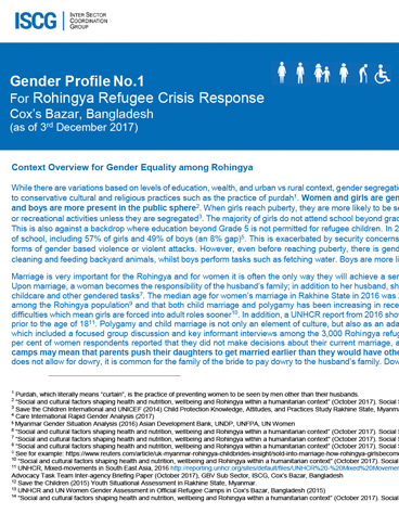 The Gender Profile for the Rohingya Refugee Crisis Response in Cox's Bazar, Bangladesh