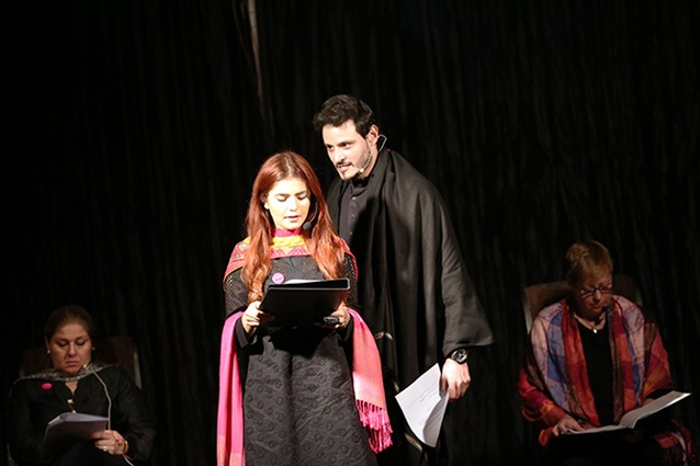 Momina Mustehsan and Osman Khalid Butt take the stage to read stories at the premiere of SEVEN. Photo: UN Women/Haris Khalid