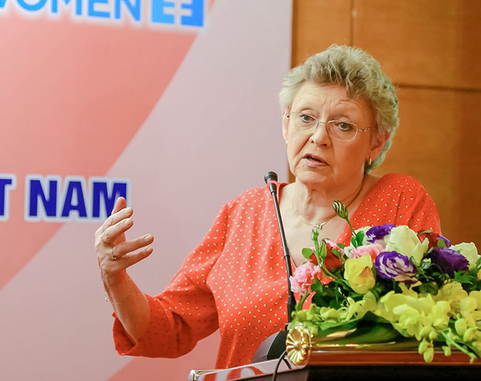 """""""The most important strategy in dealing with HIV epidemic is engaging women in all levels and guaranteeing their rights."""" - Professor Françoise Barré-Sinouss, who was awarded the 2008 Nobel Prize for co-discovering HIV virus. Photo: UN Women/Vu Han"""