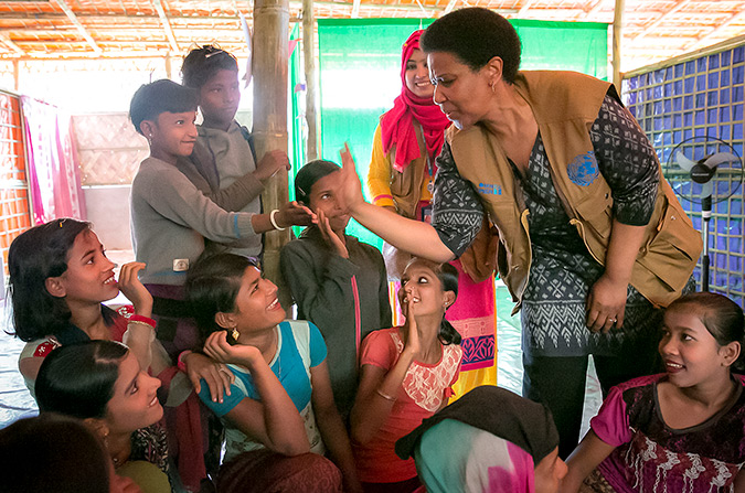 UN Women Executive Director, Phumzile Mlambo-Ngcuka  meets with women at a Multi-Purpose Women's Centre in Balukhali Rohingya Refugee camp February 1, 2018 in Chittagong district, Bangladesh.  Photo: UN Women/Allison Joyce