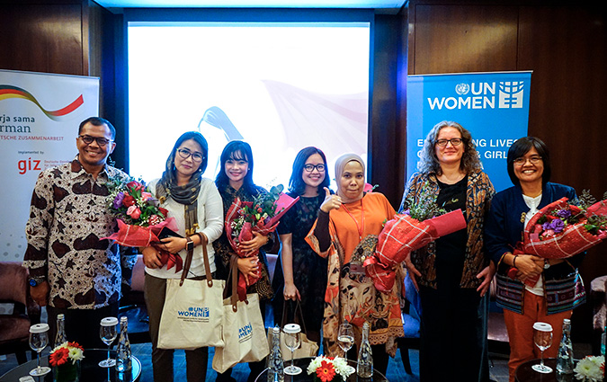 "Deputy Country Director for Indonesia of German International Development Agency GIZ, Zulazmi (left) and UN Women Representative, Sabine Machl (right) with the panelists of the talkshow titled ""Urban Activism and More Opportunities for Women's Empowerment"". Photo: GIZ/Arvianto"