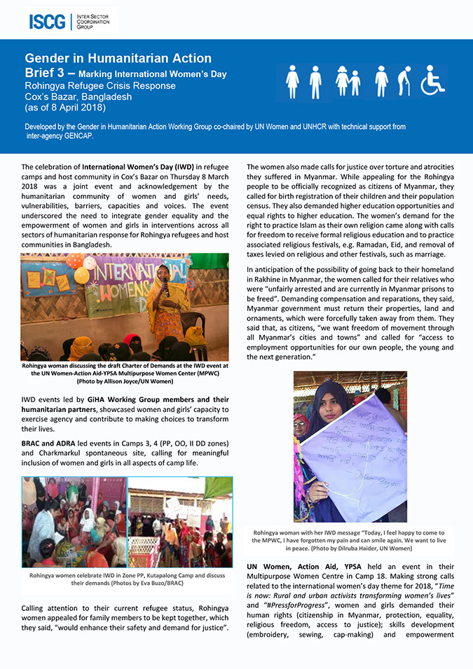 GIHA Brief No. 3 — Marking International Women's Day Rohingya Refugee Crisis Response Cox's Bazar, Bangladesh