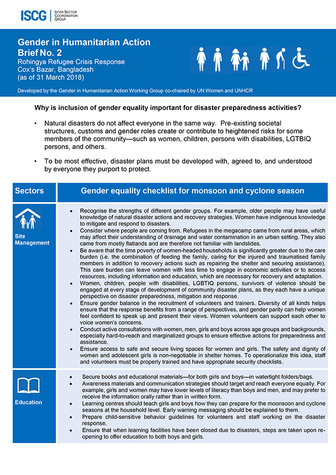 GIHA Brief No. 2 — Gender equality checklist for monsoon and cyclone season