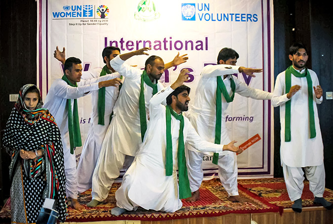 A theatre group does a performance on treating sons and daughters equally, at the 8 March event. Photo: UN Women/Anam Abbas