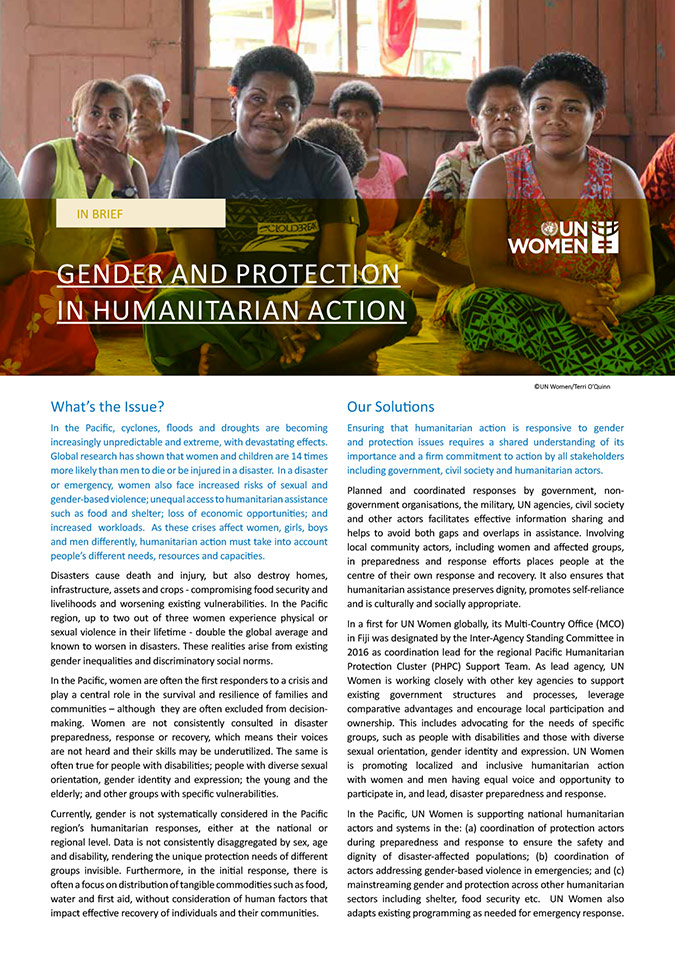 Gender and Protection in Humanitarian Action