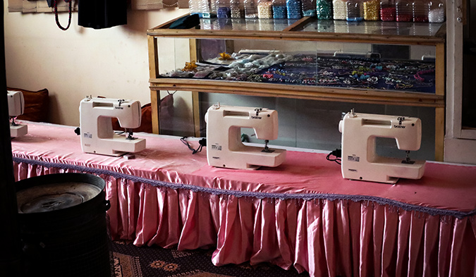 Sewing machines in UN Women-supported Women Protection Centers. Photo: UN Women/Lima Anwari
