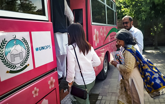 The Government of Khyber Pakhtunkhwa launches transport service for women in selected cities of KPK Province as funded by the Government of Japan and implementing partners UNOPS Country Office in Pakistan and UN Women