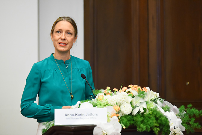 UN Women Regional Director, a.i. for Asia and the Pacific, Anna-Karin Jatfors, speaking at the public launch of the programme to enhance women's access to justice in Asia Pacific. Photo: UN Women/Pornvit Visitoran