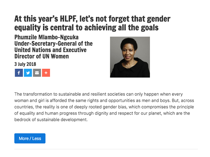 At this year's HLPF, let's not forget that gender equality is central to achieving all the goals