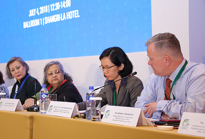 Discussing gender and inclusiveness at the Ulaanbaatar conference are, from left, Dugersuren Sukhjargalmaa of Government of Mongolia; Chandni Joshi of Women Friendly Disaster Management Network Nepal; Nguyen Thi Minh Huong of Vietnam Women's Union; and Bjorn Andersson of UNFPA. Photo: UNFPA/Tim Jenkins
