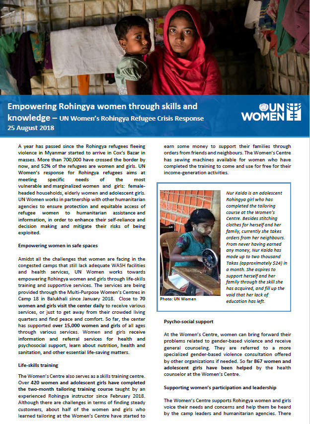 Empowering Rohingya women - UN Women update (25 August 2018)