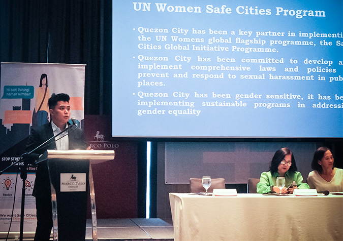 Dominic Managhaya, an Executive Assistant in the City Administrator's Office, Quezon City, tells the forum on 11 July how the city has dealt with sexual harassment. In April 2016, Quezon City implemented the Philippines' first city ordinance penalizing sexual harassment in public spaces.  Photo: UN Women/Minjeong Ham