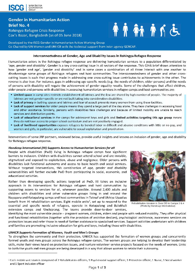 Gender in Humanitarian Action Brief No. 4 - Rohingya Refugee Crisis Response