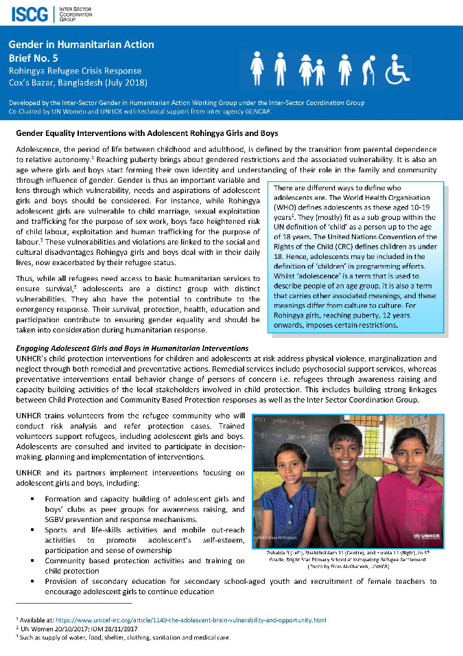 Gender in Humanitarian Action Brief No. 5 - Rohingya Refugee Crisis Response