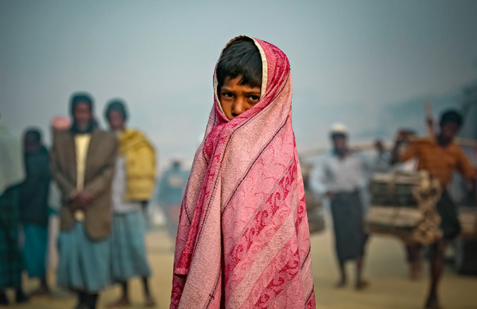 A child is seenIn Balukhali Rohingya Refugee camp February 1, 2018 in Chittagong district, Bangladesh. Photo: UN Women/Allison Joyce
