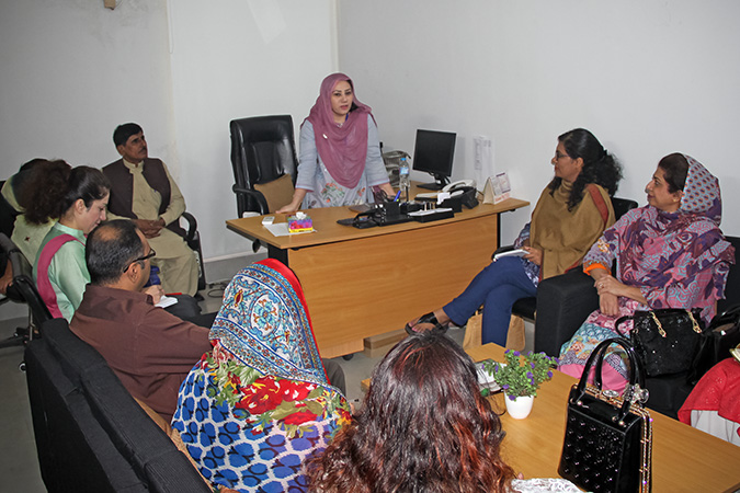Briefing session with the administration of the Violence Against Women Centre in Multan. Photo: UN Women/Shahzeb Baig