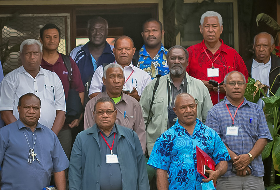Representatives of the PNG Council of Churches pose alongside development partners on 22 July, after the conference in Goroka to discuss the role of churches in peacemaking. Photo: UN Women/June Su
