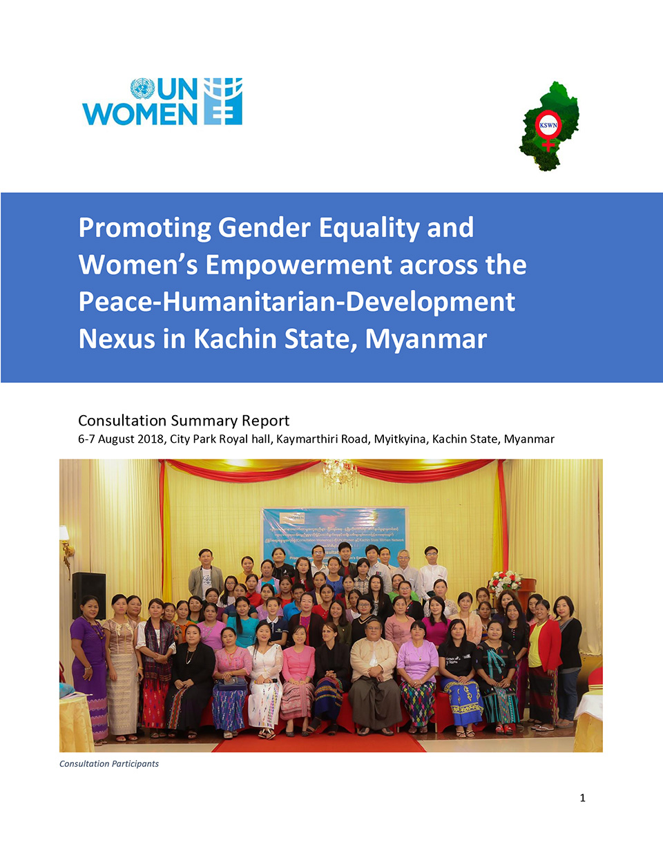 Promoting Gender Equality and Women's Empowerment across the Peace-Humanitarian-Development Nexus in Kachin State, Myanmar