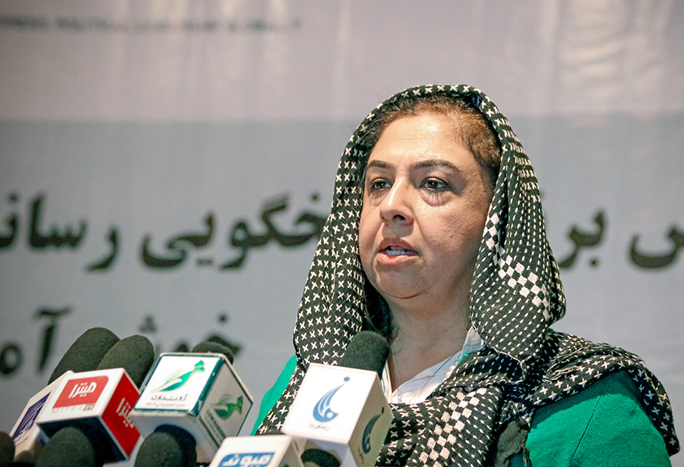 "Palwasha Hassan delivers remarks during the UN Women-supported ""Gender and Media in Elections Workshop"", held in Kabul from 22-24 September 2018. Photo: UN Women/Nangyalai Tanai"