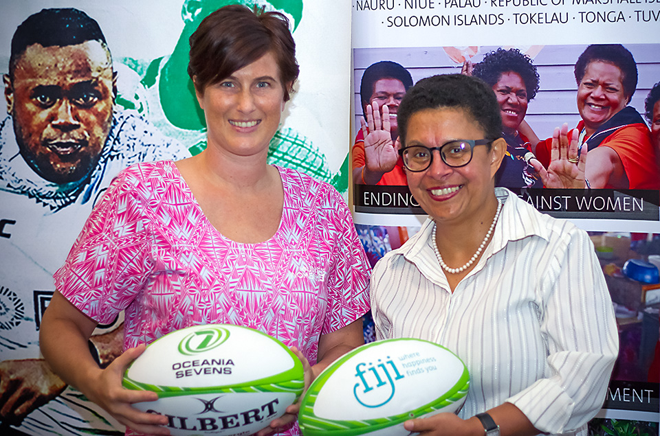 L - R Ms Abigail Erikson Ending Violence Against Women Programme Specialist for UN Women Fiji MOC and Ms Cathy Wong Oceania Rugby Women's Director. Photo: UN Women
