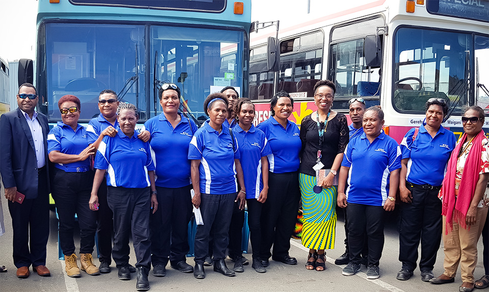 Officials of the Road Traffic Authority and UN Women pose with drivers and staff members of the women-only buses, at the 11 July launch ceremony. Photo: UN Women/Mariyam Nawaz