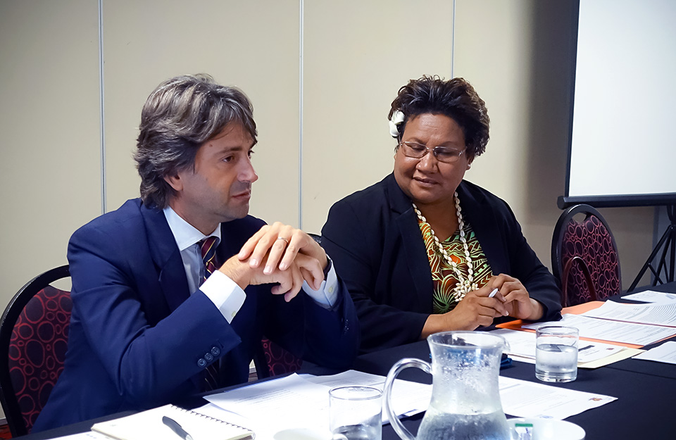 Anna Solomon, Secretary, Department of Community Development and Religion, at left, and Gianluca Rampolla, United Nations Resident Coordinator, address the 16 August forum. Photo: United Nations/Milka Akane