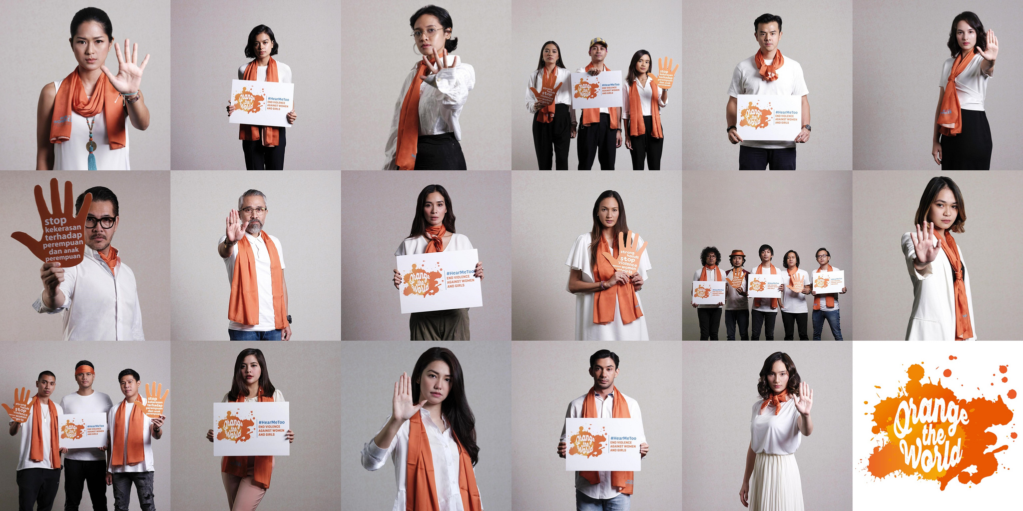 25 Indonesian influencers were participated in the video message to end violence against women. The video message was produced with the objective to encourage people to take action to end violence against women. In the video, the influencers encourage everyone to stand in solidarity with survivors, speak out, and take action to stop normalizing violence against women and girls. The video was published on the 25th November 2018 to mark 16 Days of Activism against Gender Based Violence. Photo: UN Women/Putra Djohan