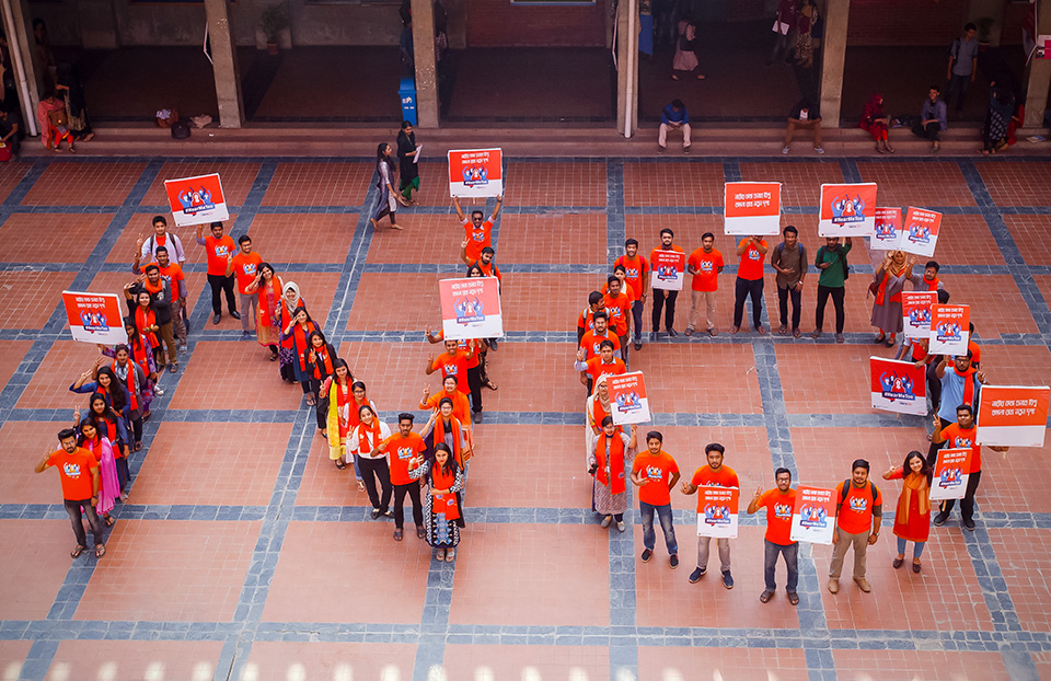 Student Campaign Group in East West University showing their commitment to end violence for 16 Days of Activism, 3 Dec 2018, Dhaka, Bangladesh. Photo: Fahad Kaizer