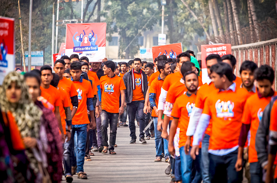 More than 200 students gathered in a rally to observe 16 days of Activism in Rajshahi University. 4 December 2018, Rajshahi Bangladesh. Photo: Fahad Kaizer