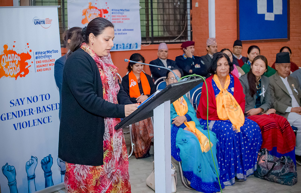 UN Women Nepal's Deputy Representative Gitanjali Singh speaking during interaction programme in Province 3. In her remarks she focused on the need to collaborate with different stakeholders to change discriminatory norms and practices to shift the power imbalance. Photo: UN Women/Nabin Regmi