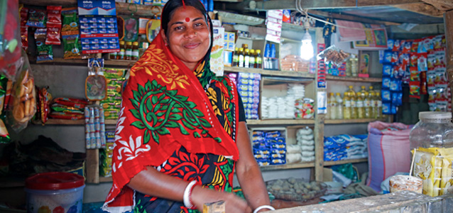 Sita Rani with her grocery shop in Rajnagar, eastern Bangladesh. Photo: UN Women/Snigdha Zaman
