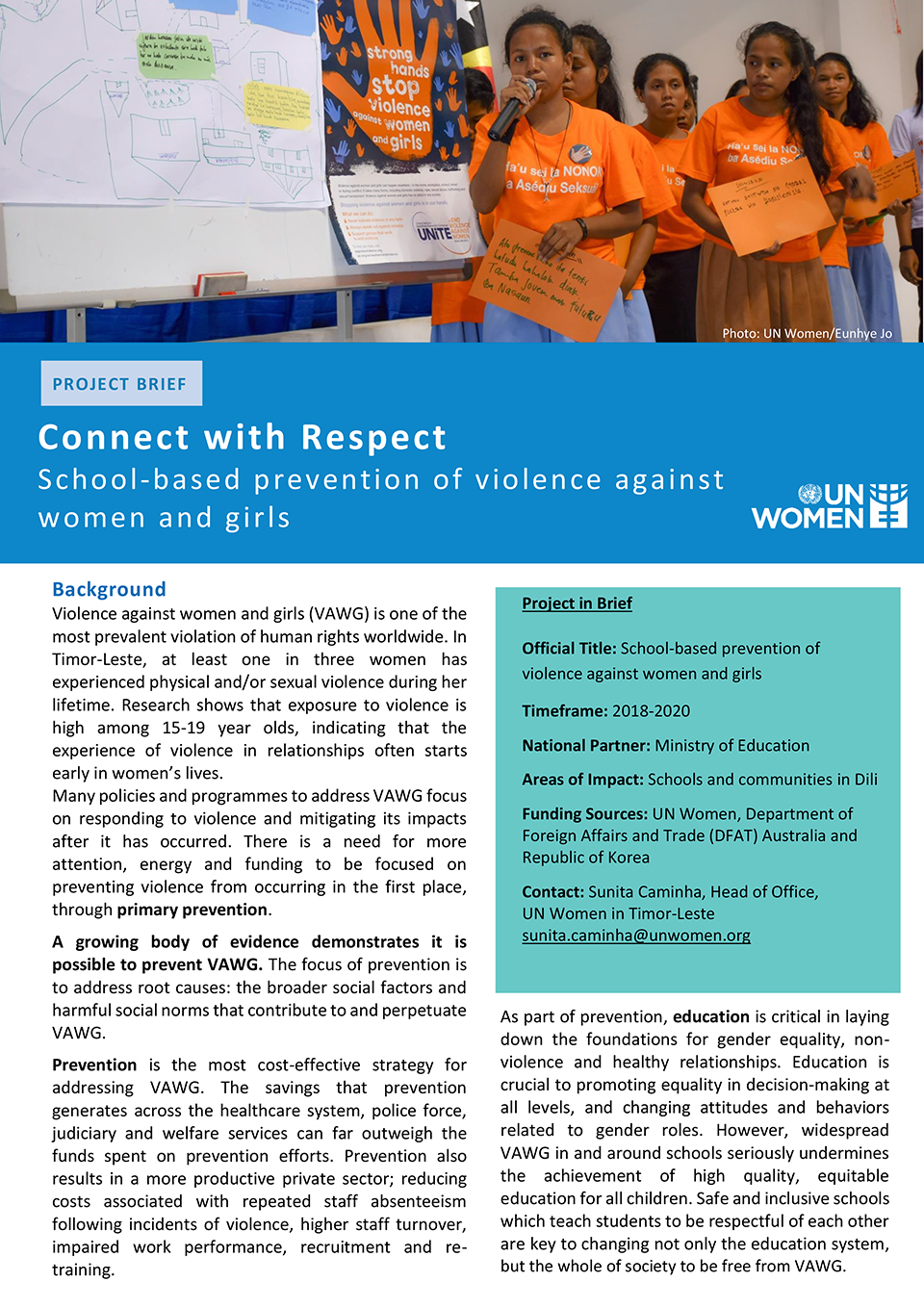 Connect with Respect School-based prevention of violence against women and girls