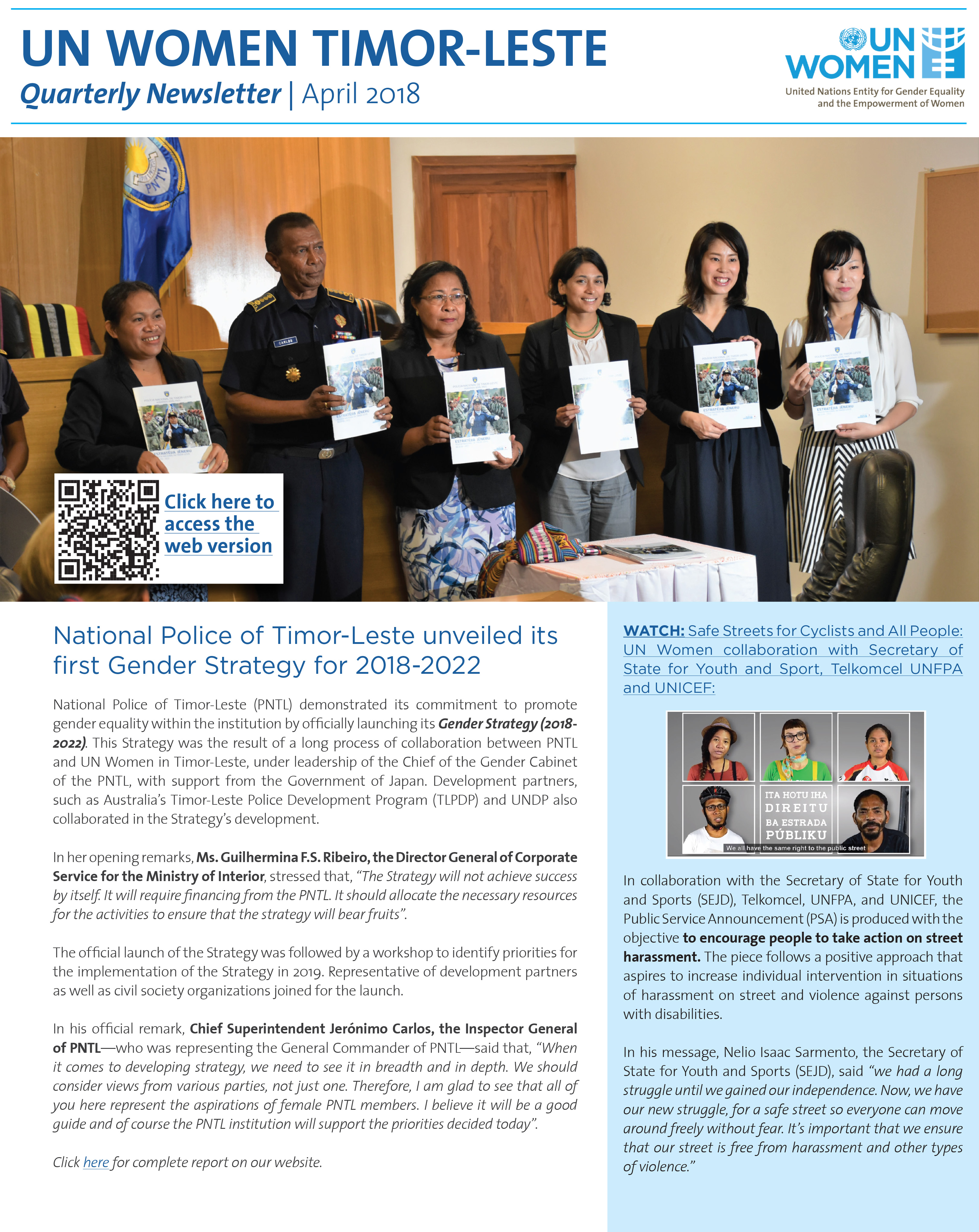 UN Women Timor-Leste Quarterly Newsletter | April 2018