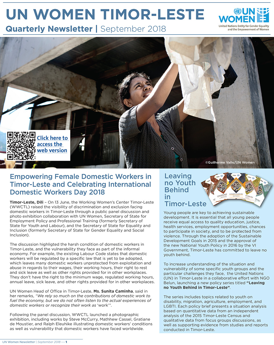 UN Women Timor-Leste Quarterly Newsletter | September 2018
