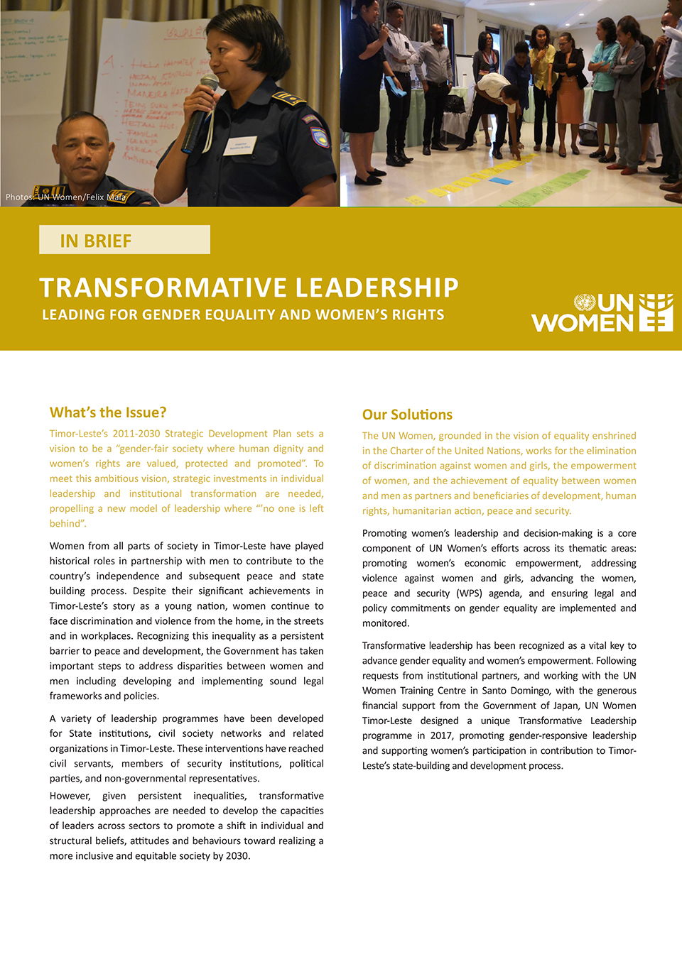 Transformative Leadership Leading for Gender Equality and Women's Rights