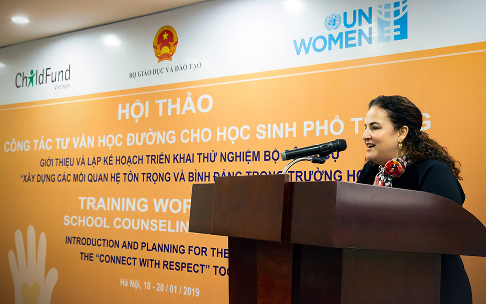Elisa Fernandez, UN Women Viet Nam - Head of Office, in her opening remark for the Training workshop. Photo: UN Women/Ta Huong Linh