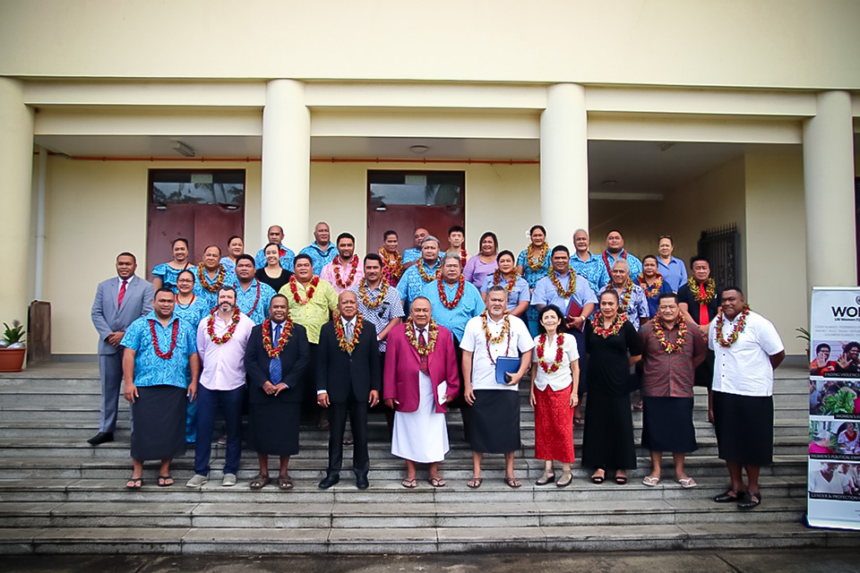Group photo with Permanent Secretary for the Ministry of Women, Children and Poverty Alleviation Dr. Josefa Koroivueta during the launch. Photo: Courtesy of Department of Information, Fiji