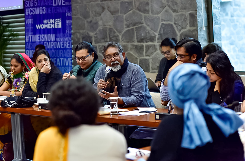 Civil rights activist, Paul Diwakar shares his perspectives at the Consultation on 'Promoting Gender Equality Through the Beijing Platform for Action (BPfA) and CSW63', held in New Delhi. Photo: UN Women/Sarabjeet Dhillon
